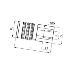 """Szybkozłacze suchoodcinające gniazdo ISO 19 wew. 1"""" Bsp"""